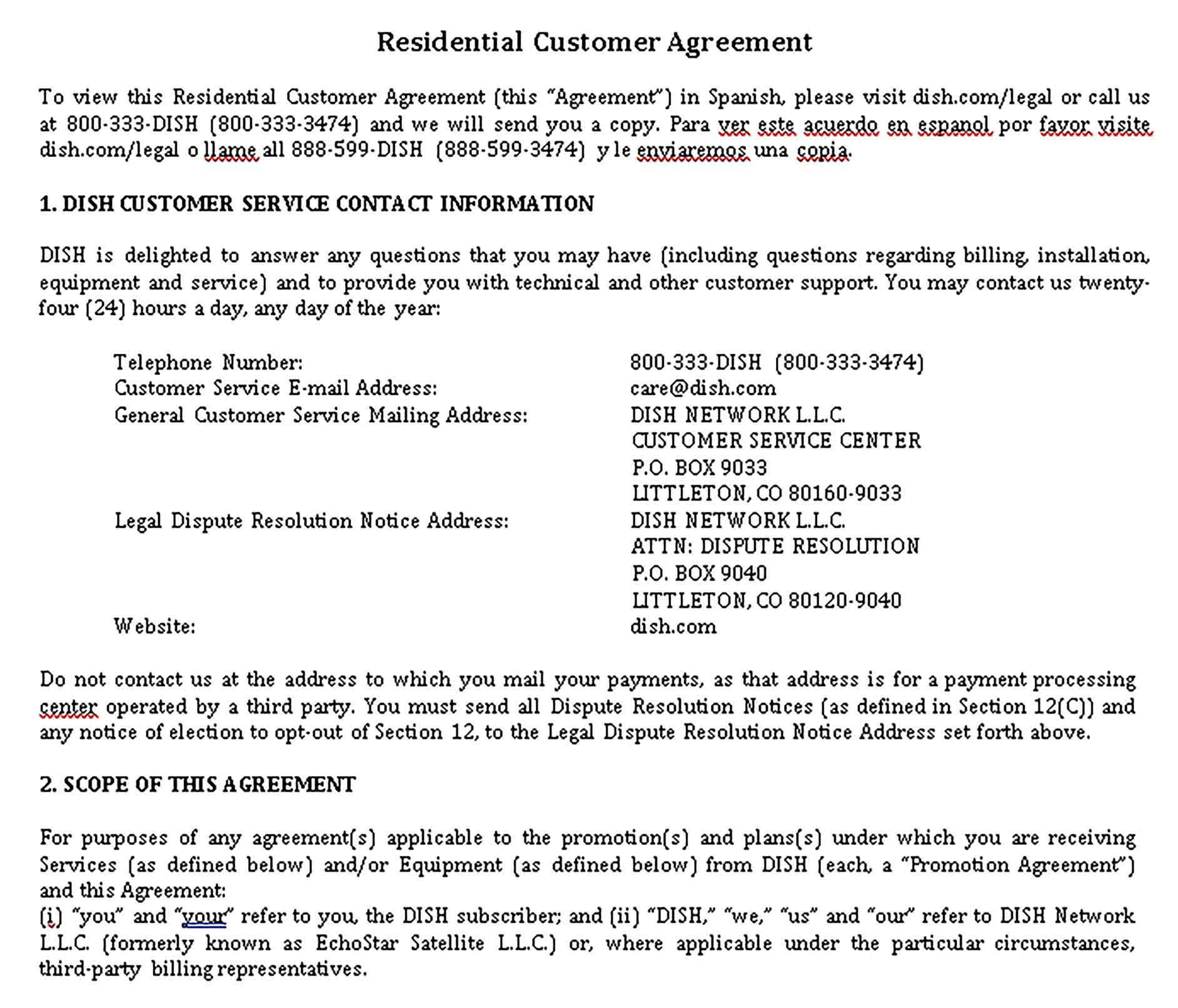 Templates Residential Legal Agreement Sample