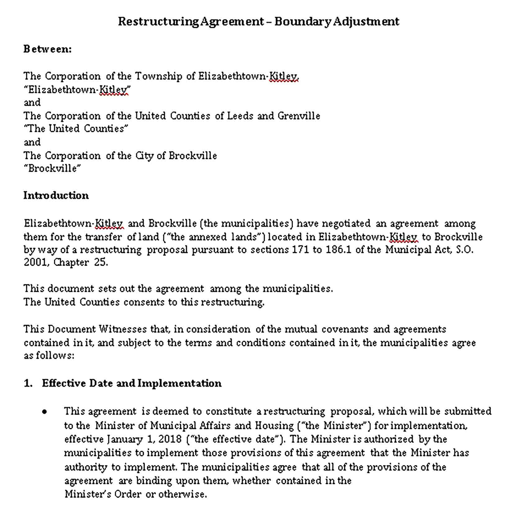 Templates Restructuring Agreement Sample
