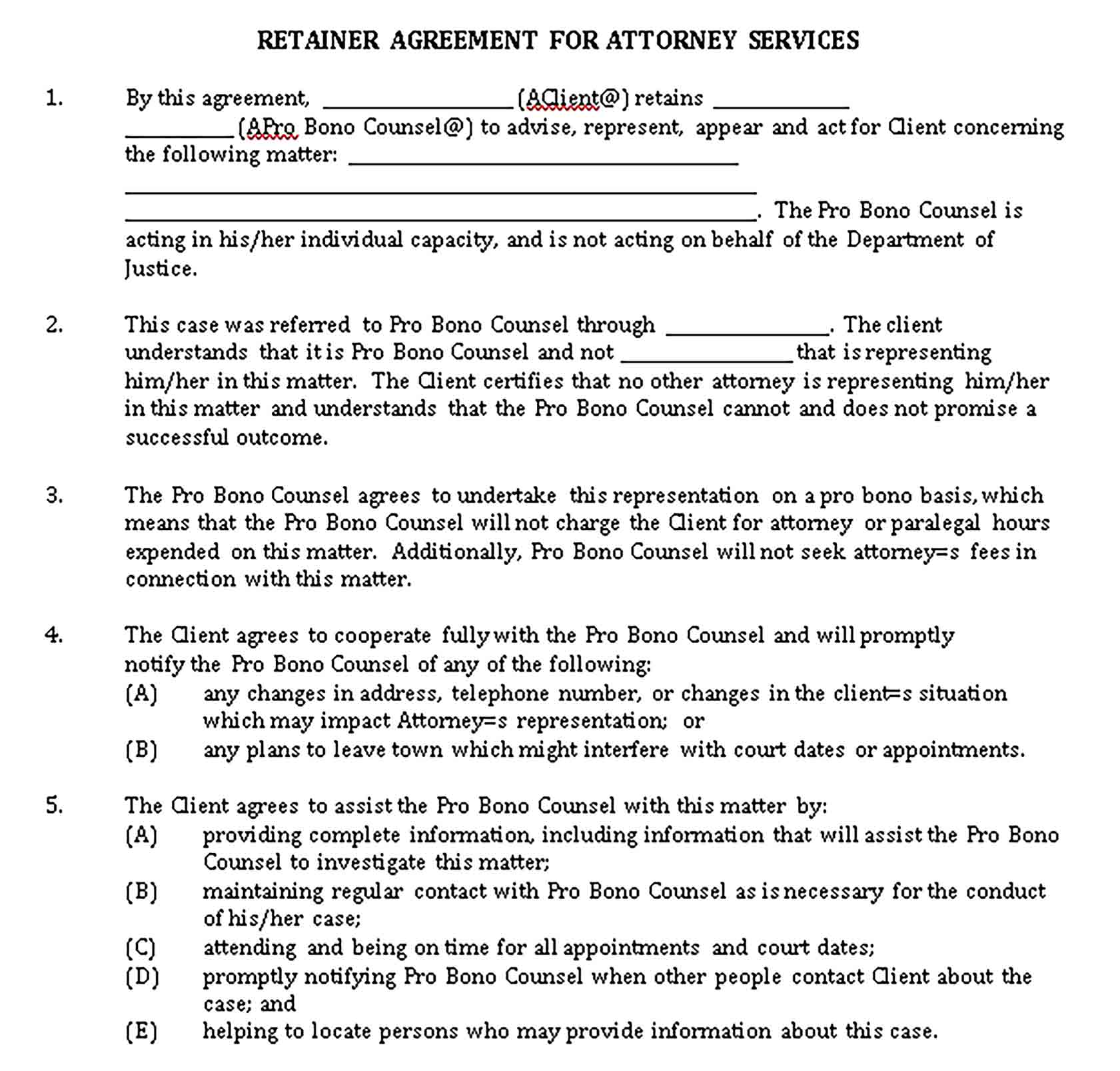 Templates Retainer Agreement for Attorney Services Sample