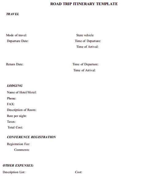 Templates Road Trip Itinerary Example 001