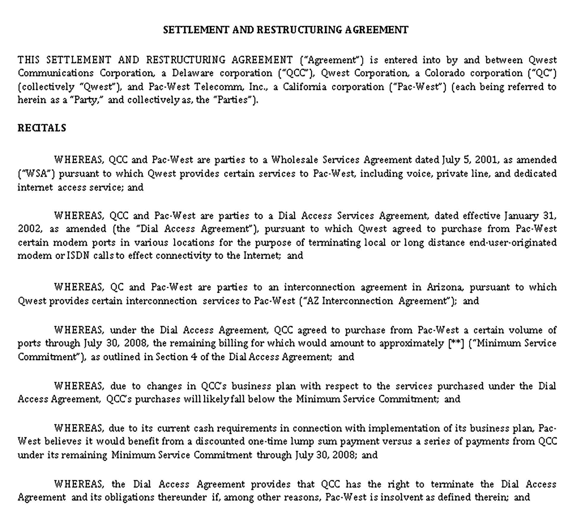 Templates Settlement Restructuring Agreement Sample