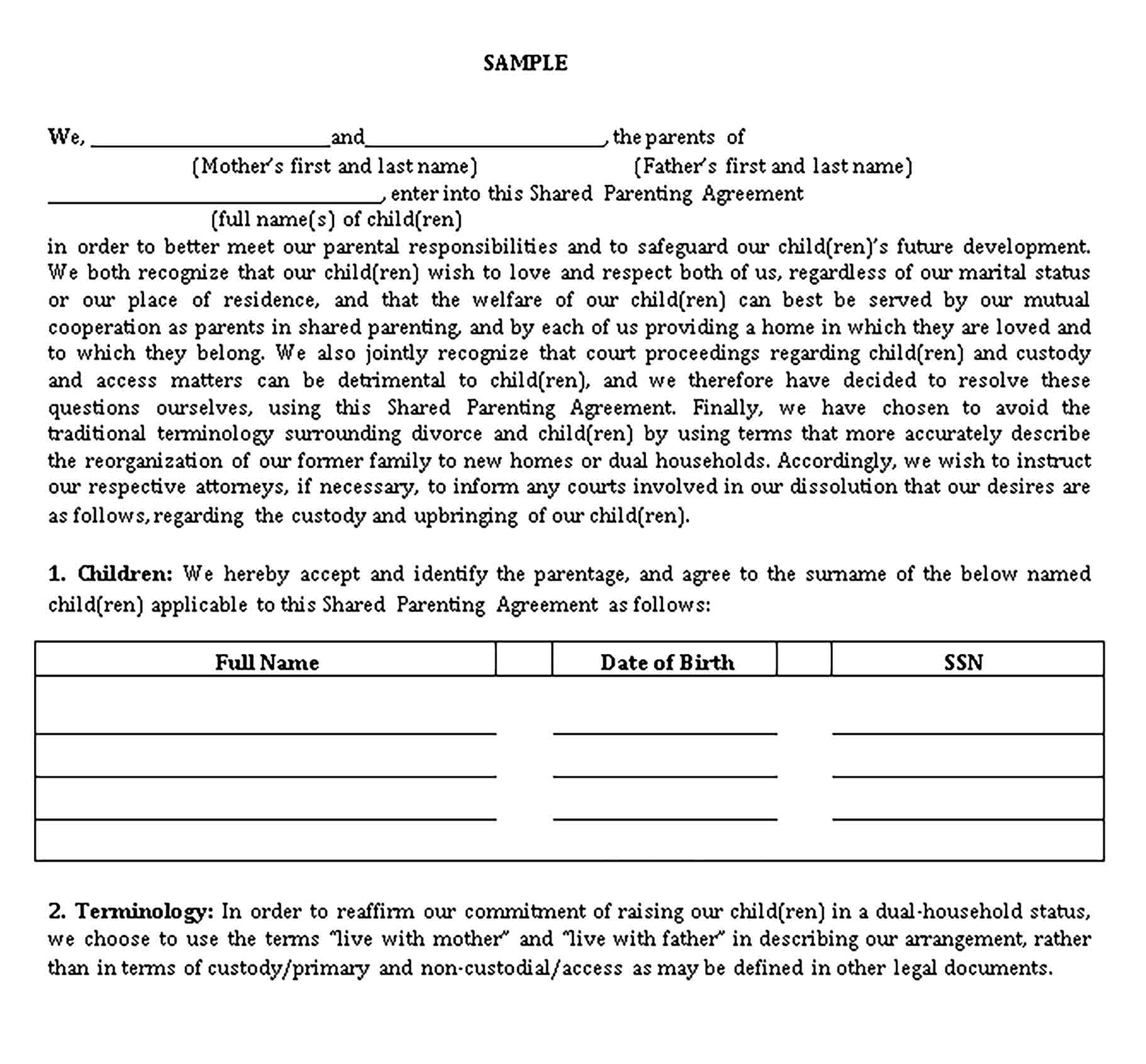 Templates Shared Parenting Agreement Sample