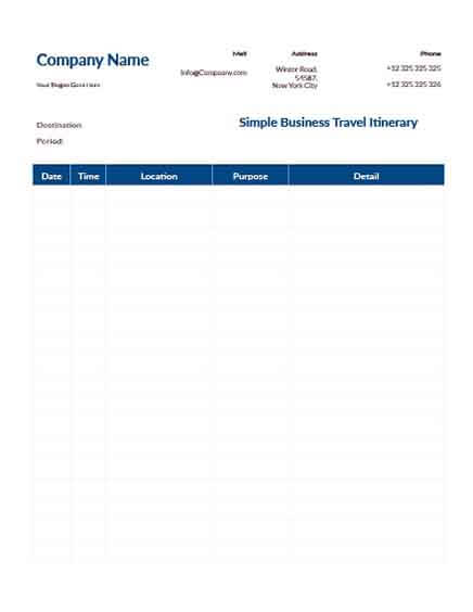Templates Simple Business Travel Itinerary Slider Example