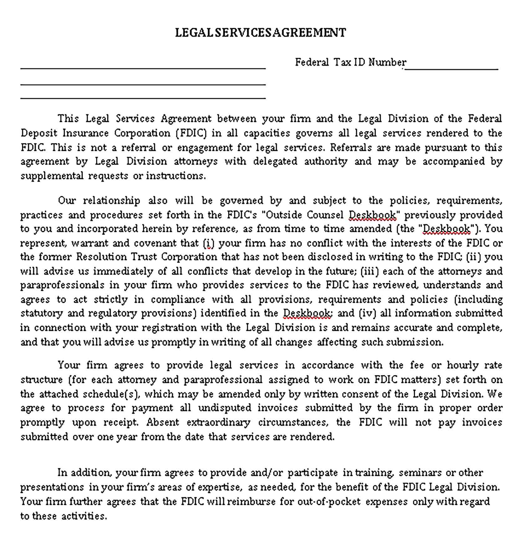 Templates Simple Legal Services Agreement Sample