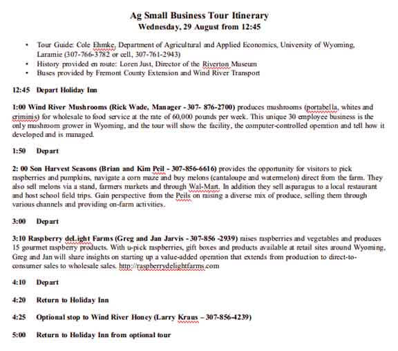 Templates Small Business Tour Example