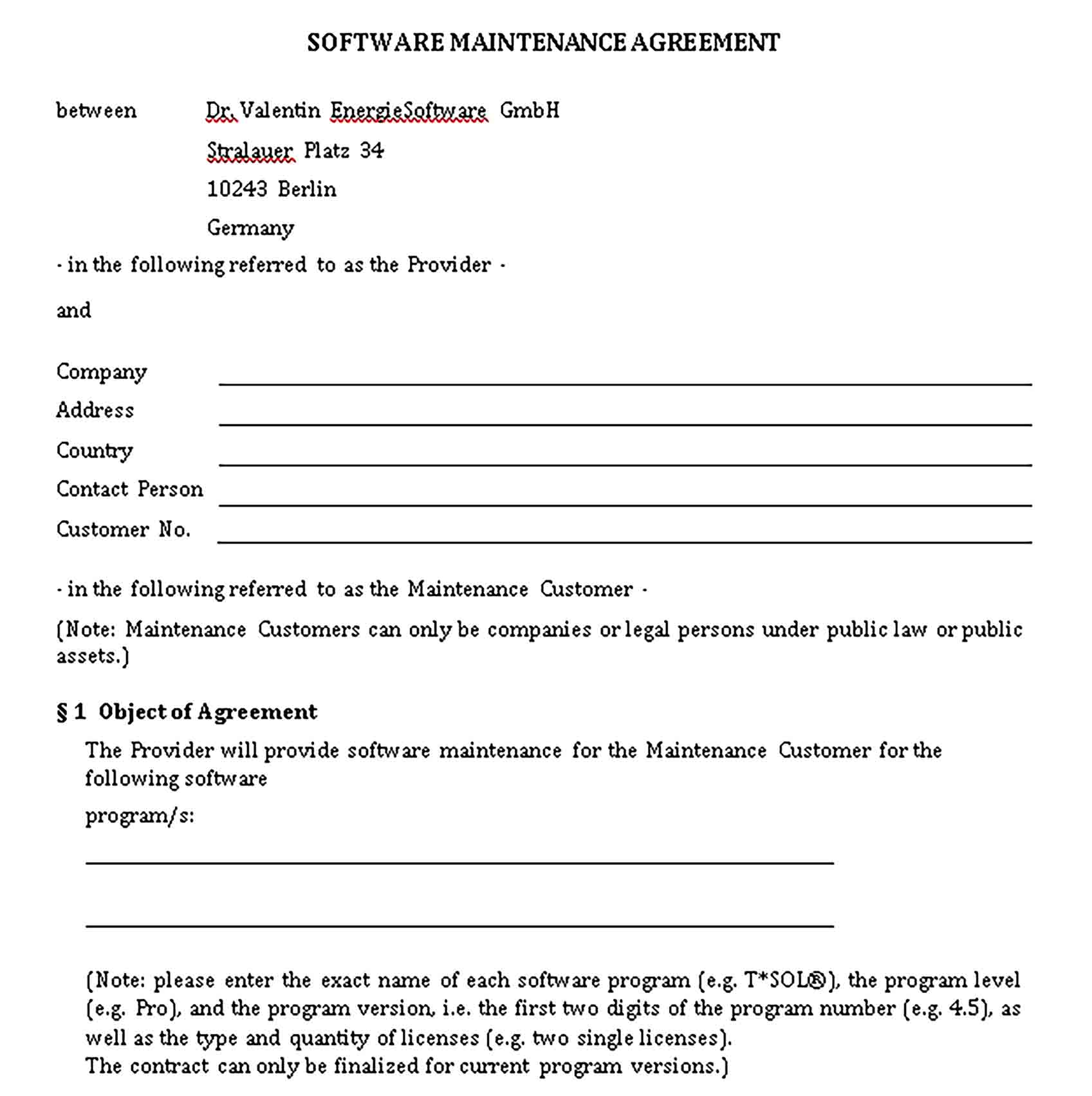 Templates Software Agreement Sample