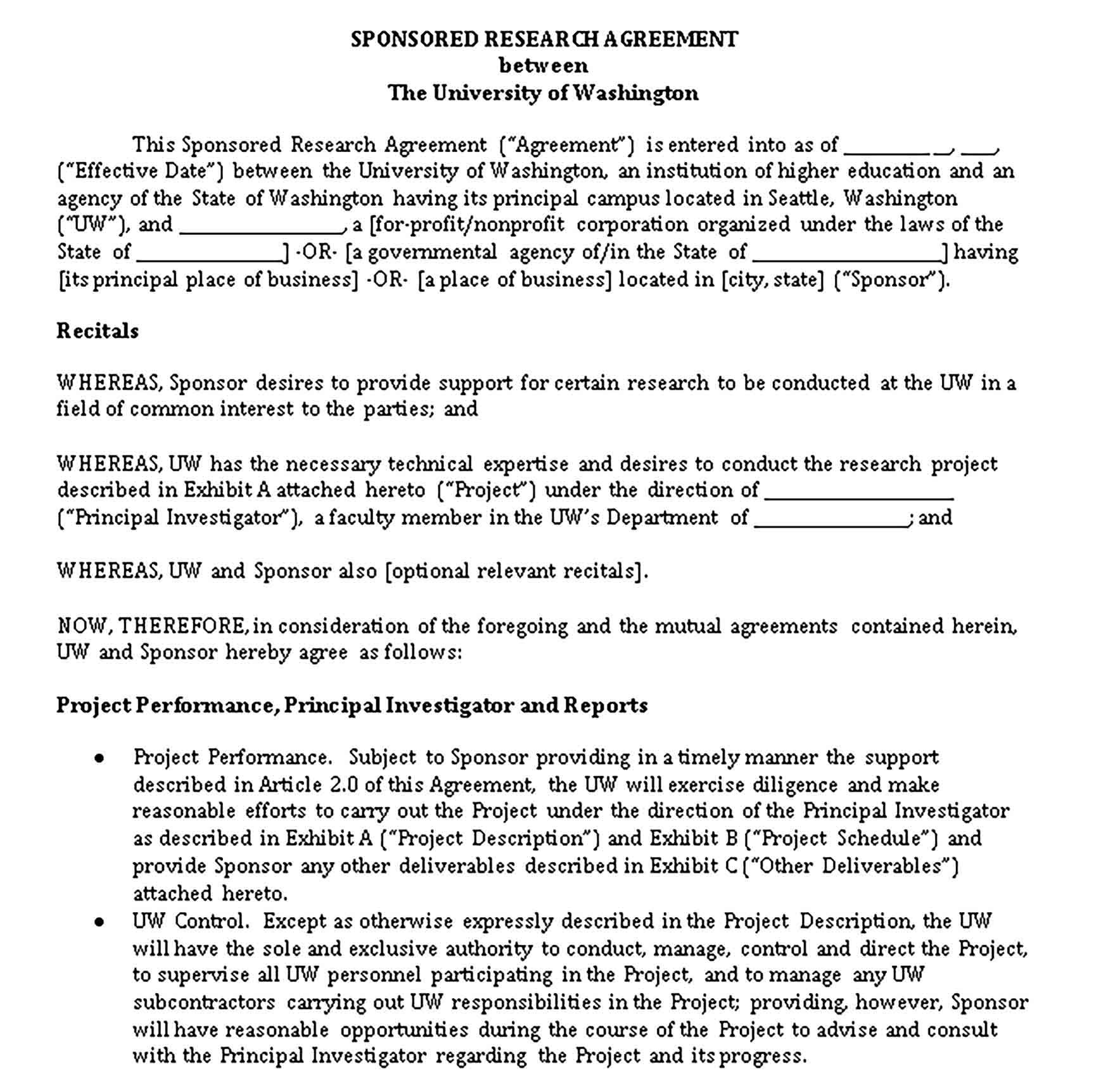 Templates Sponserd Research Legal Agreeement Sample