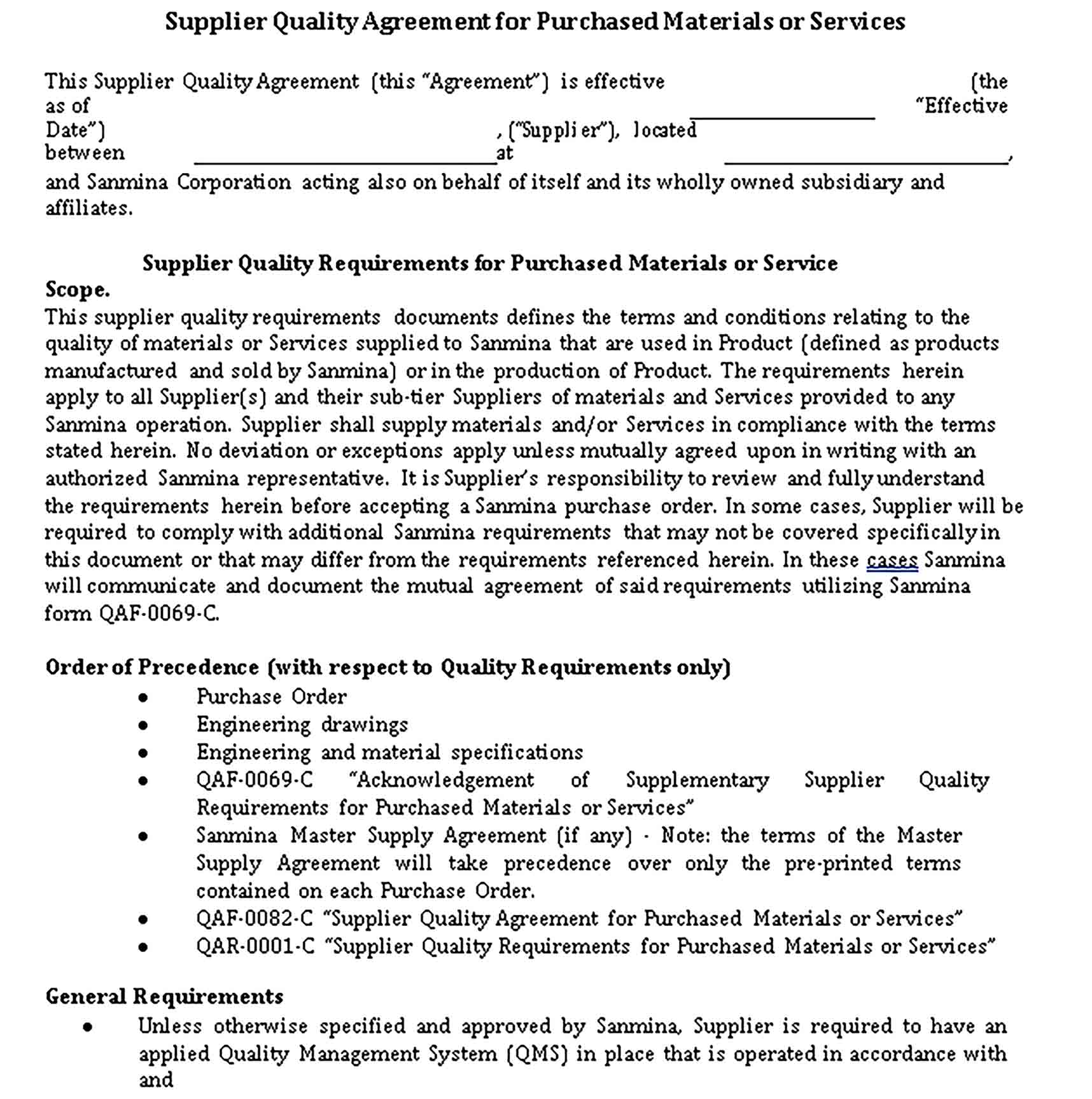 Templates Supplier Quality Agreement Sample