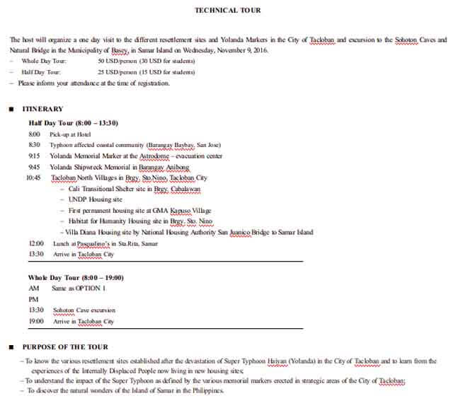 Templates Technical Tour Itinerary Example