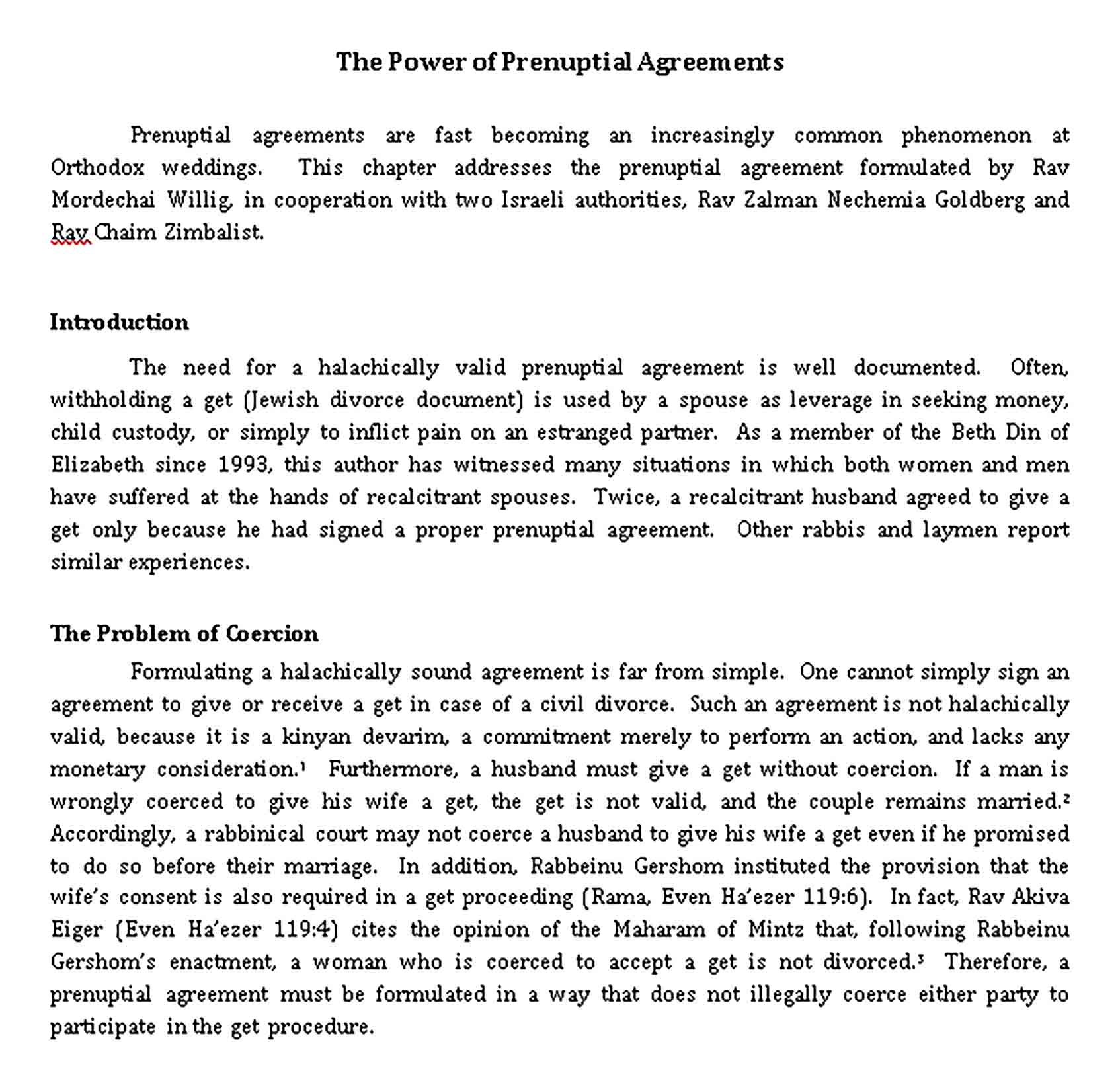 Templates The Power of Prenuptial Agreements Document Sample