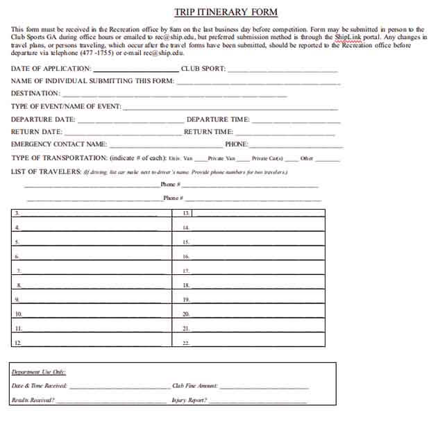 Templates Travel Itinerary Form Example