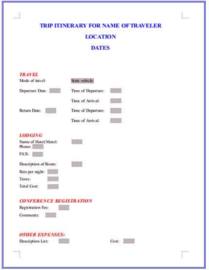 Templates Trip Itinerary Example