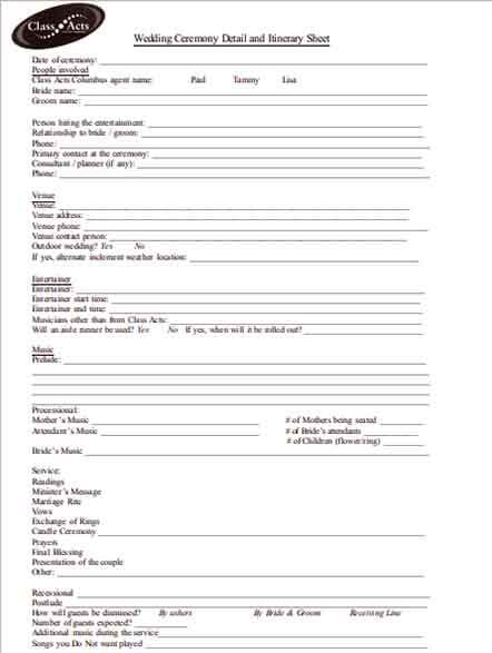 Templates Wedding Ceremony Detail and Itinerary Sheet Example