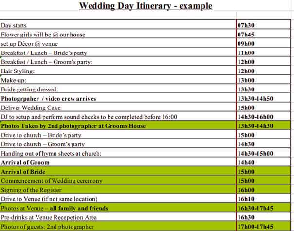 Templates Wedding Itinerary Example