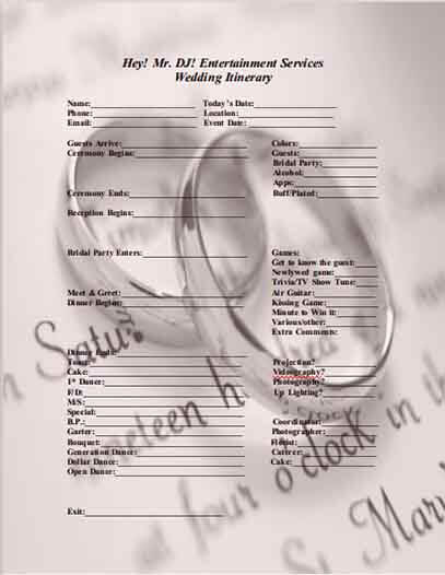 Templates Wedding Itinerary Word Example