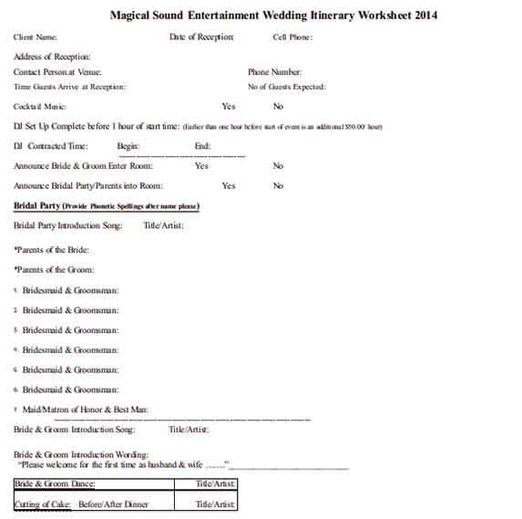 Templates Wedding Itinerary Worksheet Bridal Party Example