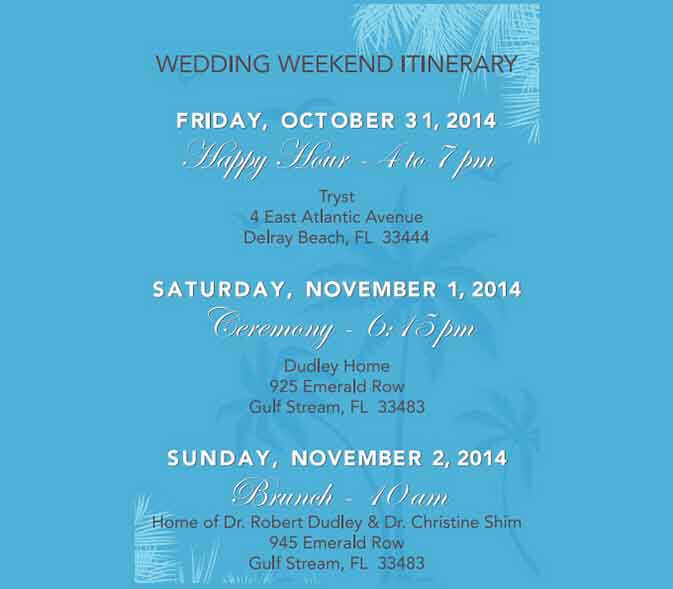 Templates Wedding Weekend Itinerary Example 001