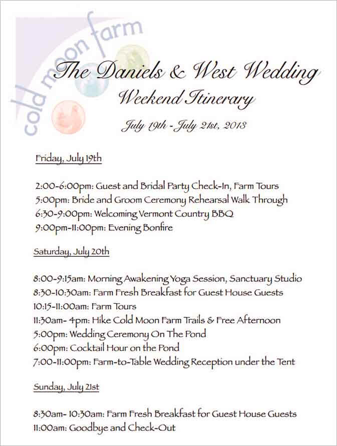 Templates Wedding Weekend Itinerary Example 002