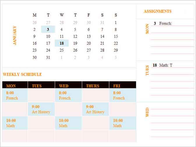 Templates Weekly Itinerary Excel Example