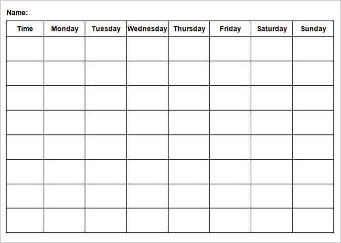 Templates Weekly Itinerary Word Example