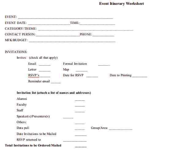 Templates event itinerary worksheet Example