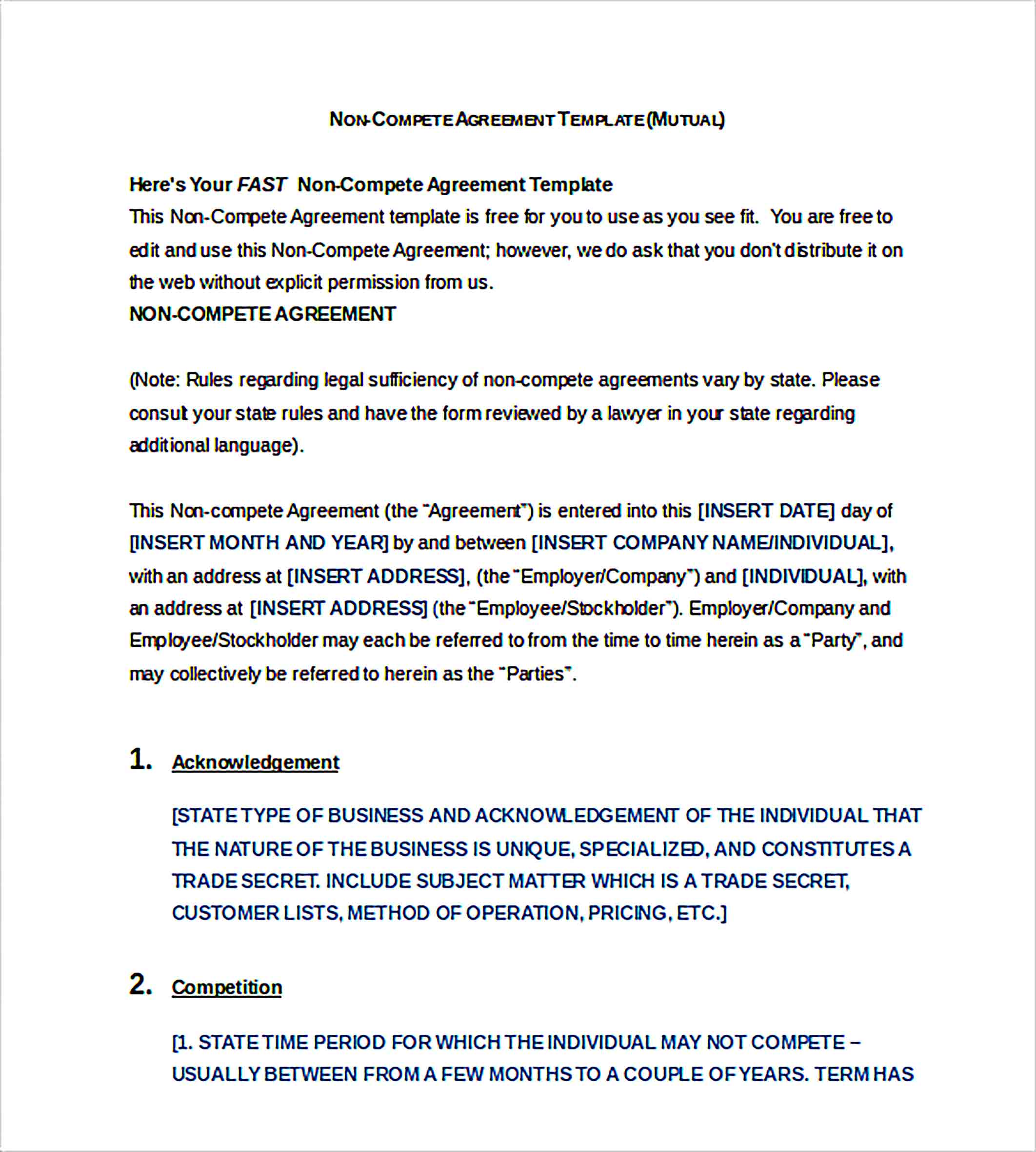 Templates non compete agreement form Word Format Sample