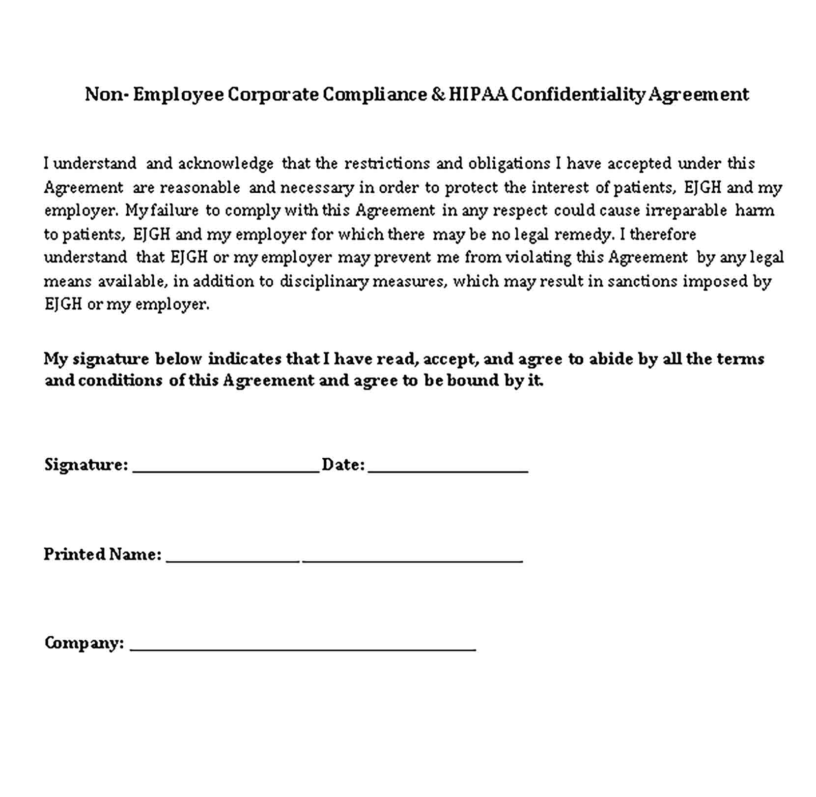 Templates non employee compliance and HIPAA Confidentiality Agreement Sample