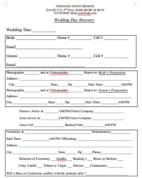 Templates of Photo Video Wedding Day Itinerary Example