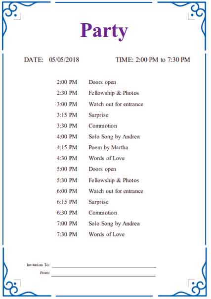 Templates party itinerary Example