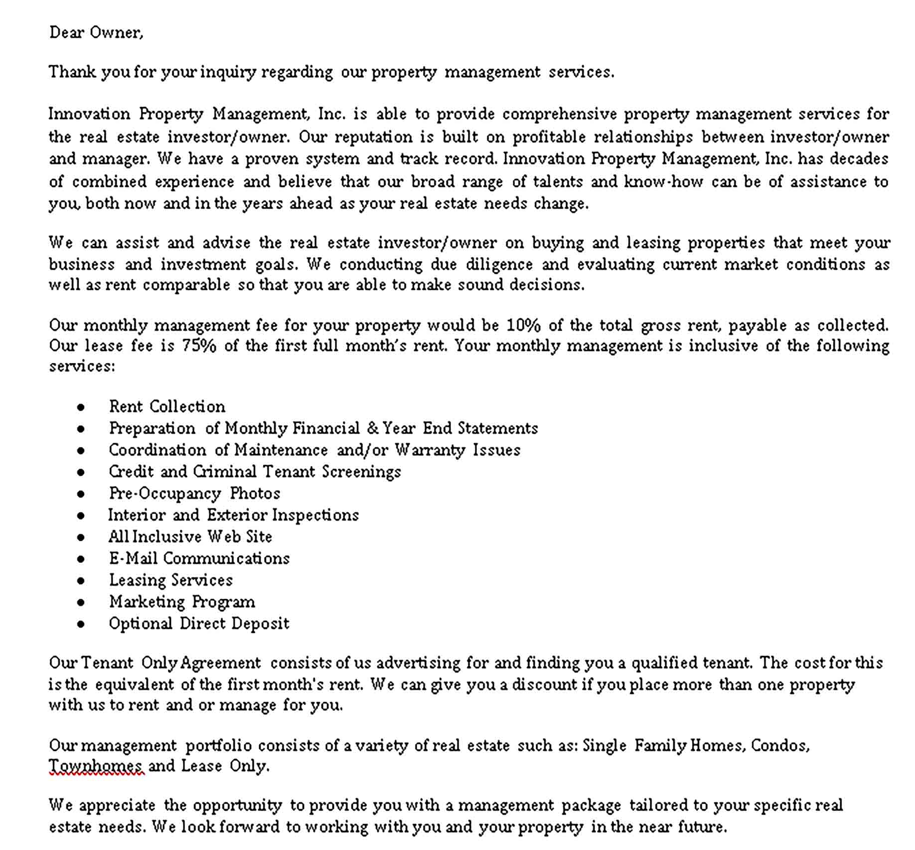 Templates property management contract Sample