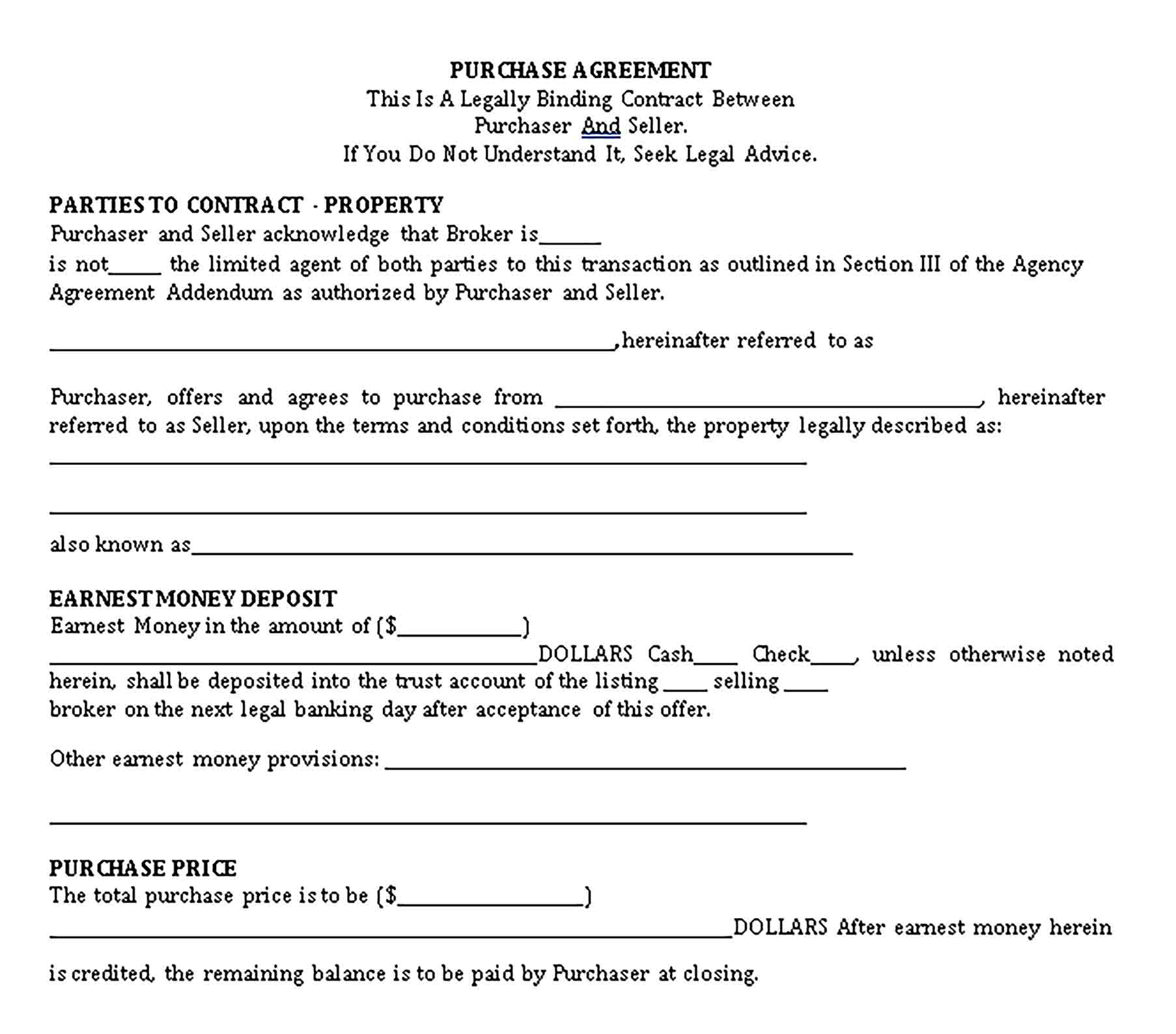 Templates purchase agreement1 Sample