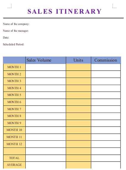 Templates sales itinerary Example