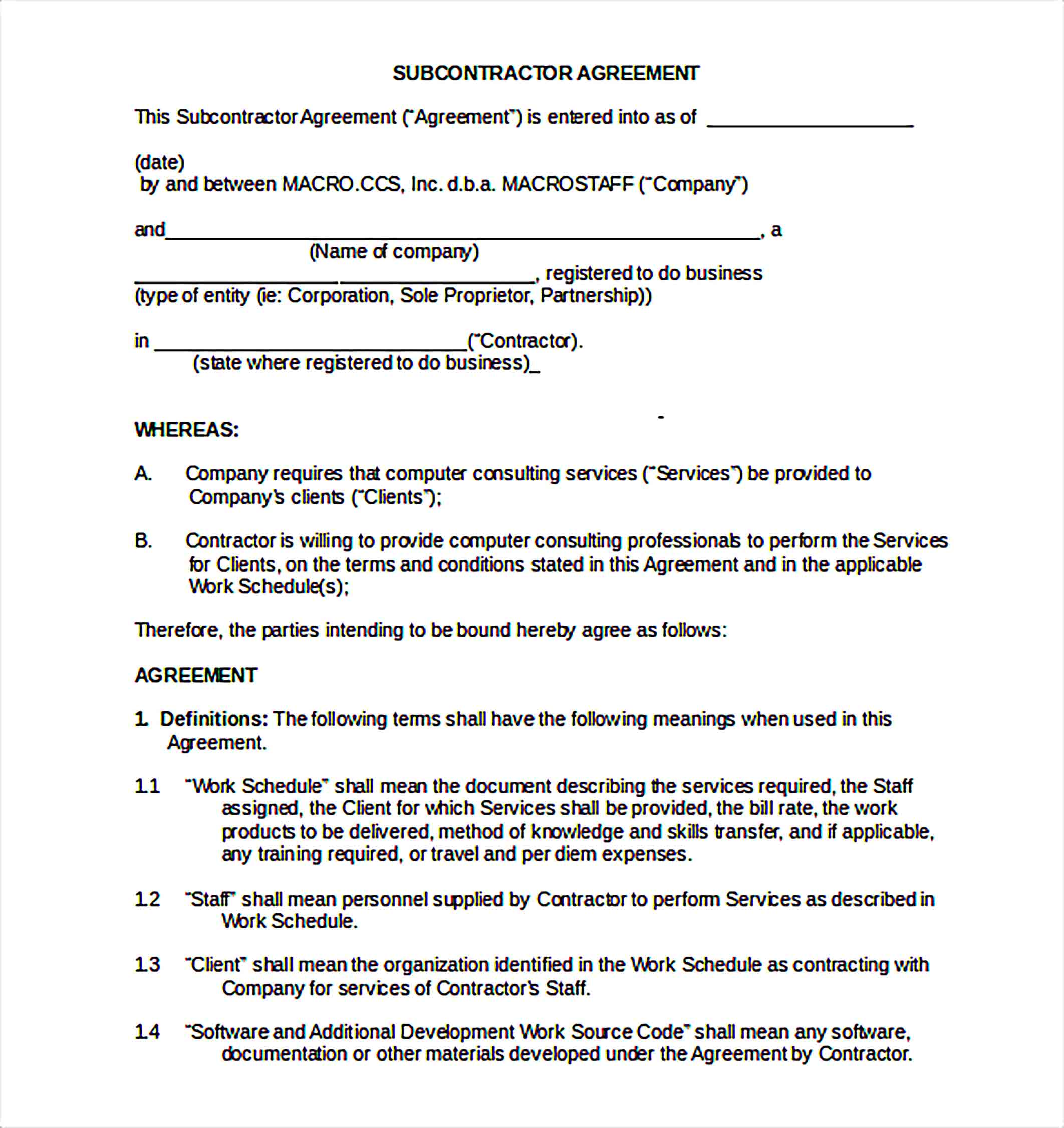 Templates subcontractor non compete agreement Word Doc Sample