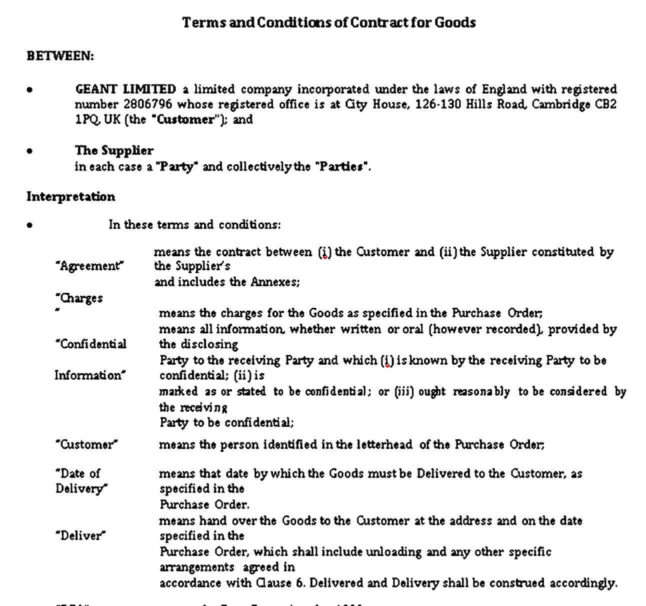 Terms and Conditions for the Goods