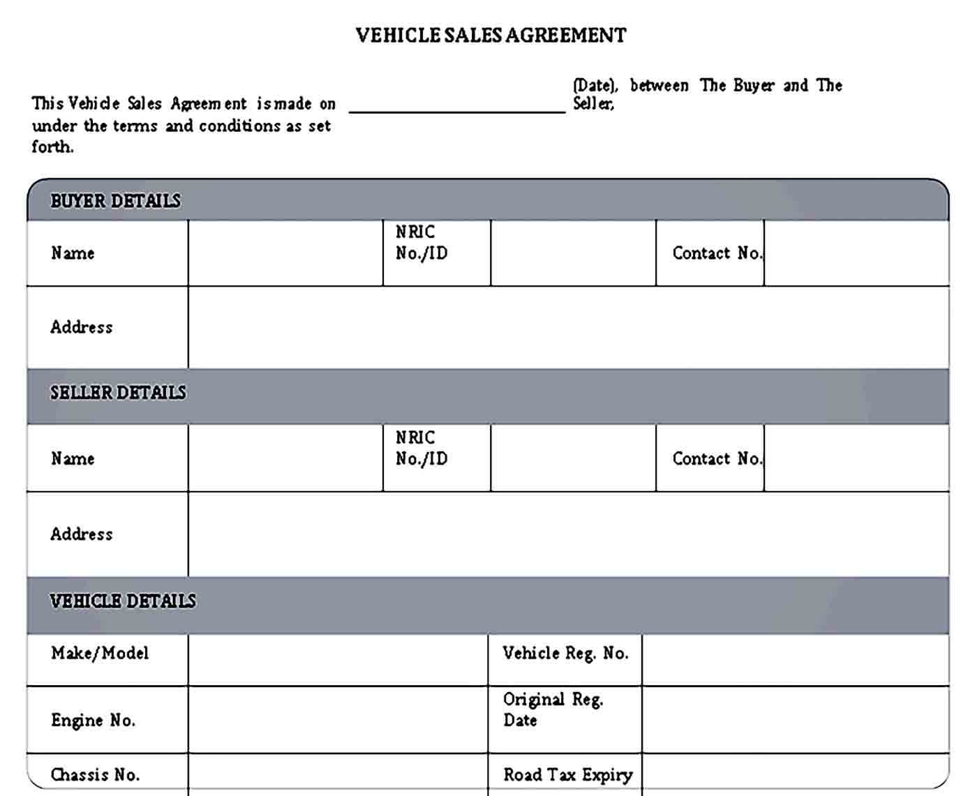 Vehicle Sales Agreement Template