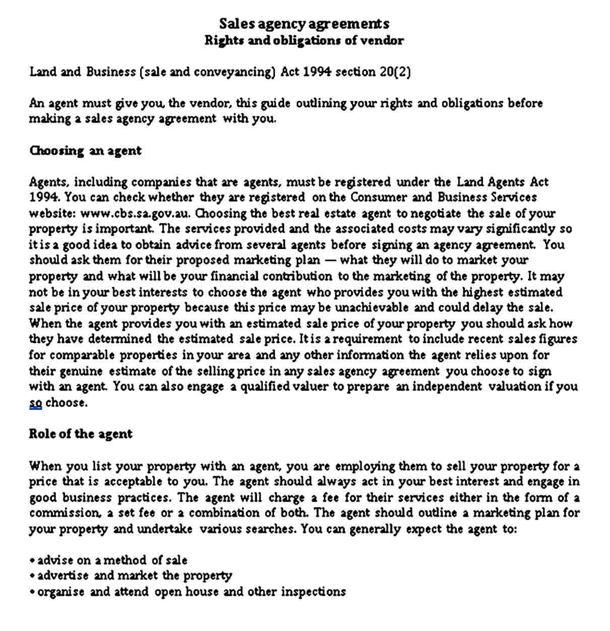 sales agency agreement