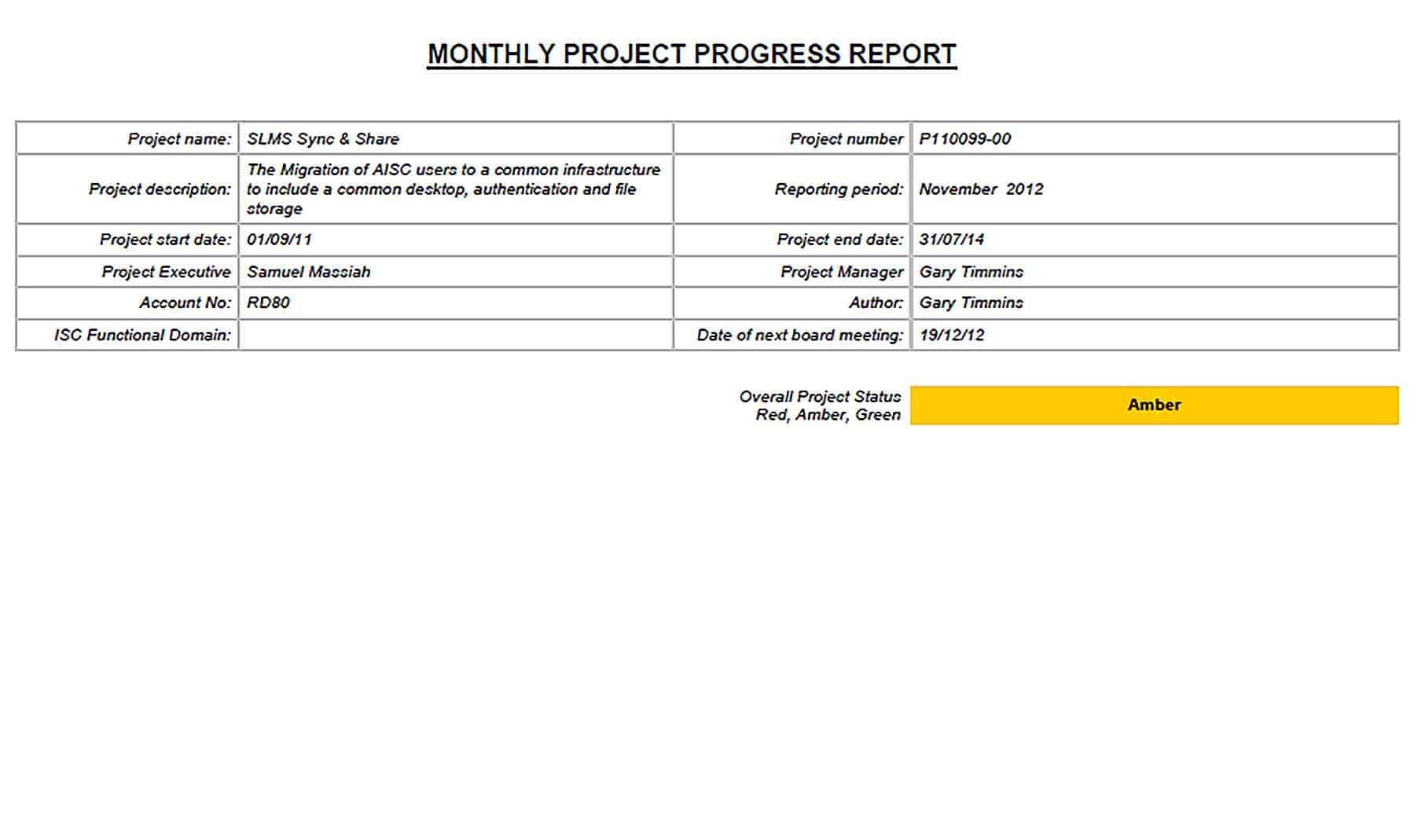 Project Monthly Progress Report