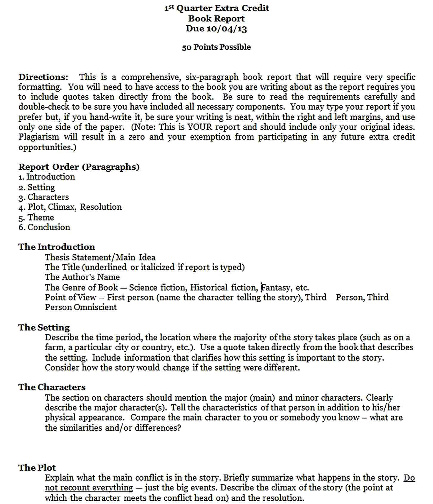 Sample 7th and 8th Grade Book Report Format