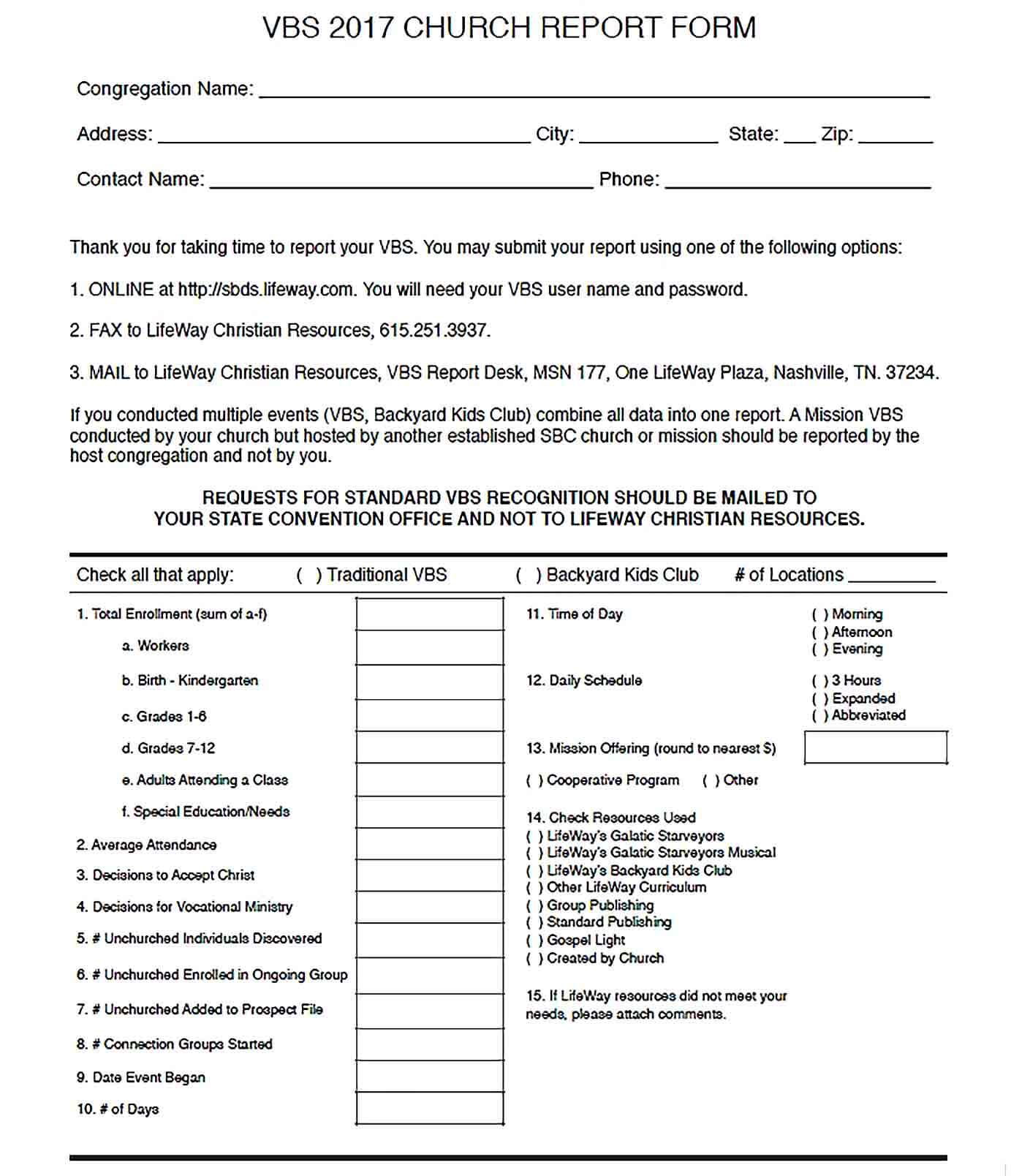 Sample 8. VBS 2017 CHURCH REPORT FORM FOR ADMIN3