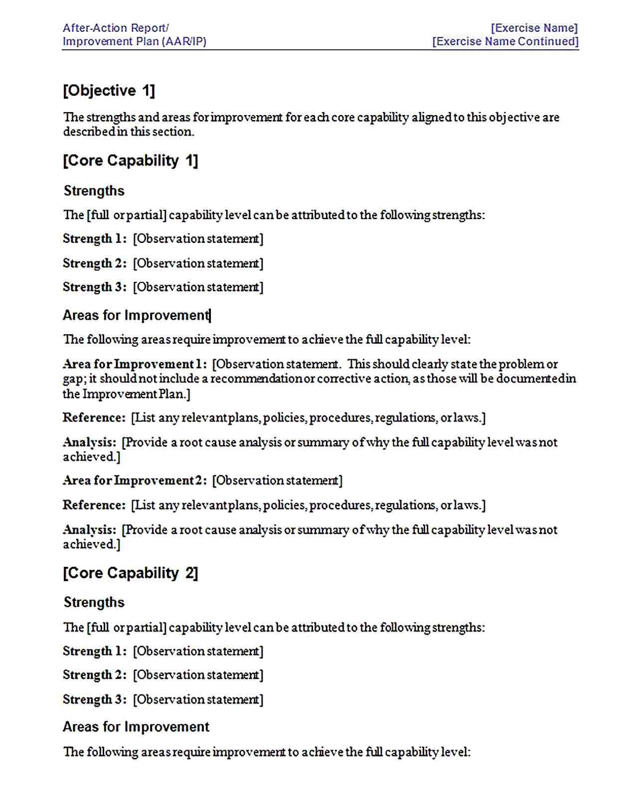 Sample After Action Report Improvement Plan Template 1