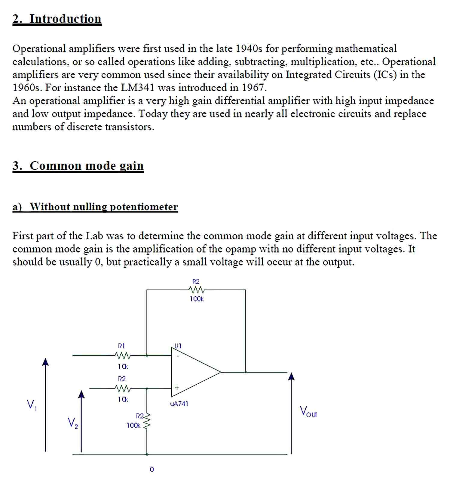 Sample Analogue Electronics Lab Report Template