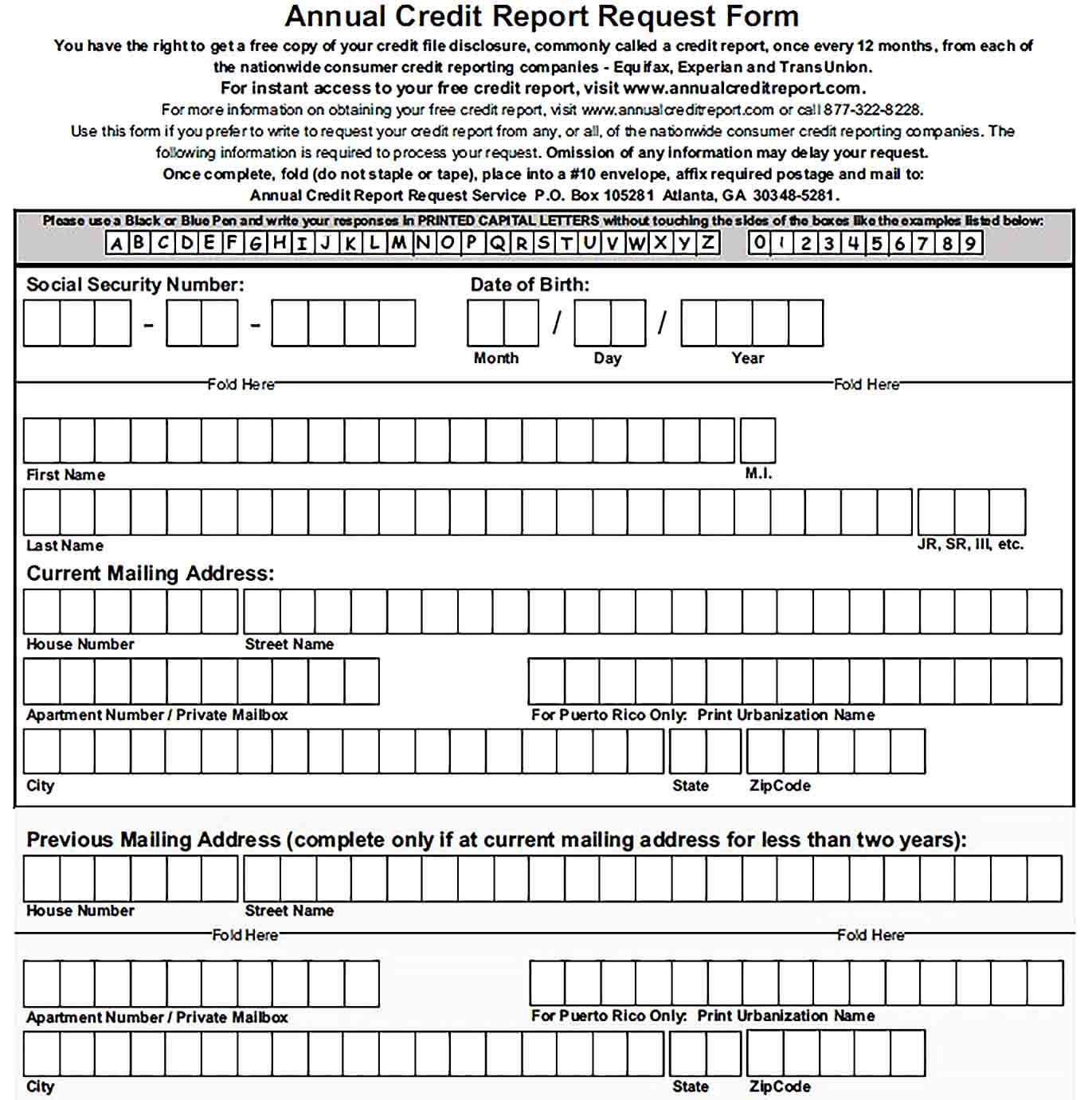 Sample Best Annual Credit Report Request Form