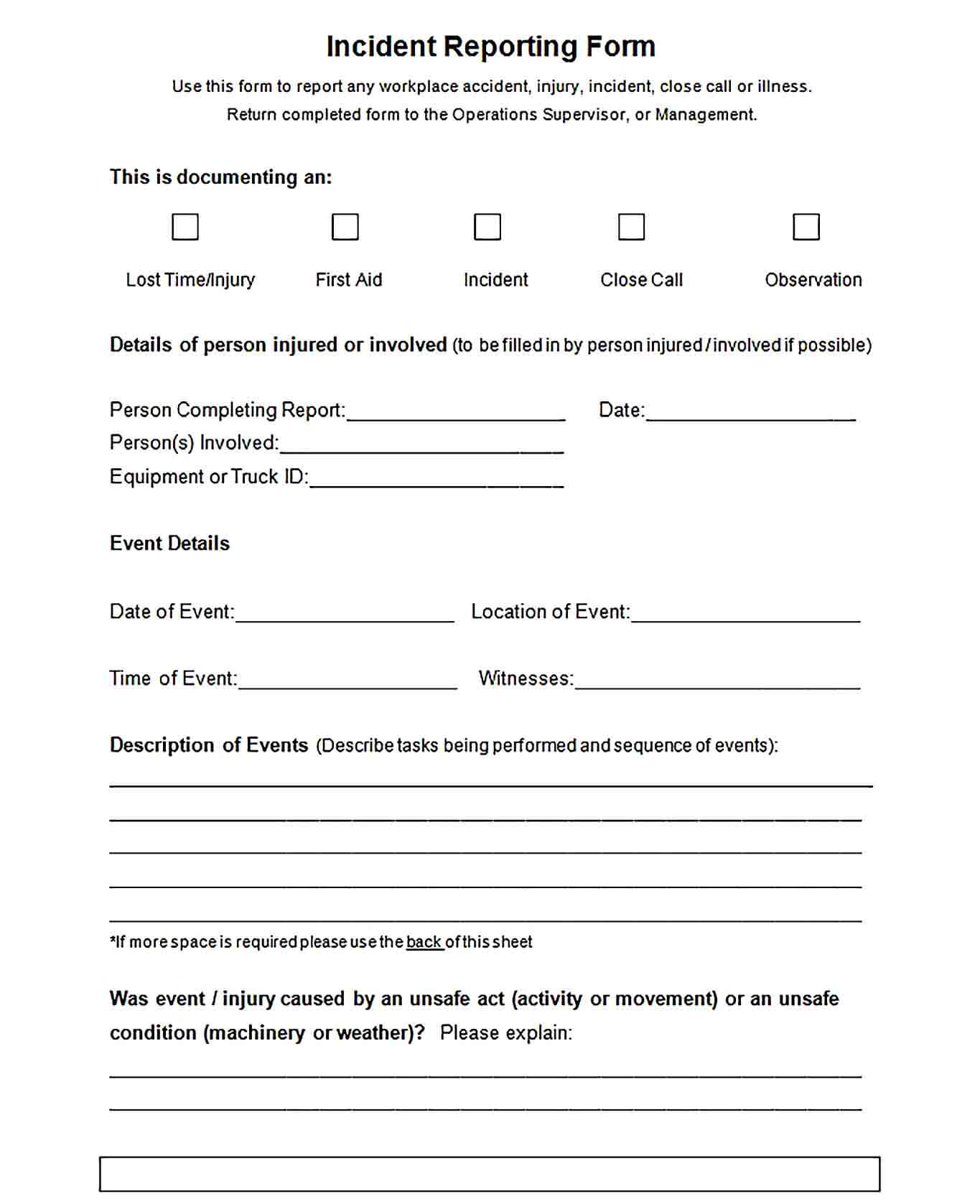 Sample Blank Employee Incident Reporting Form