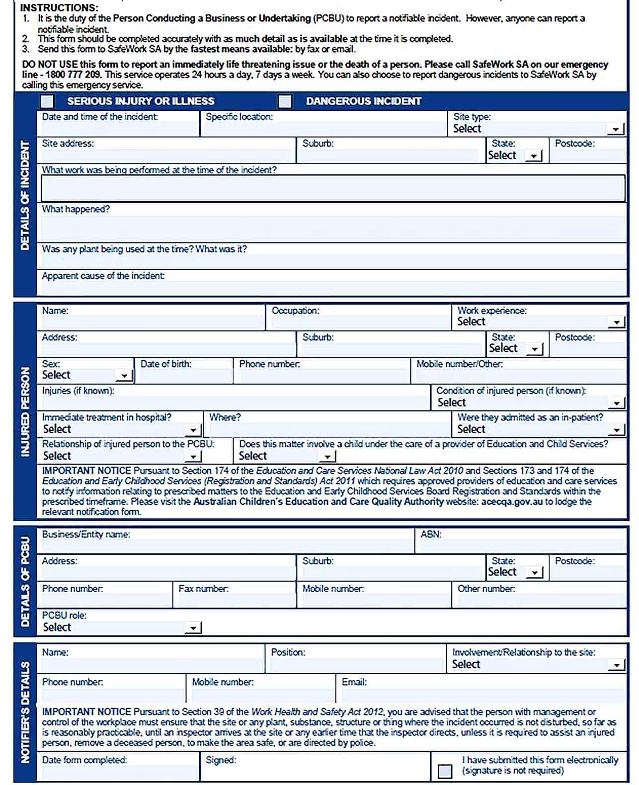 Sample Blank Incident Report Form Template