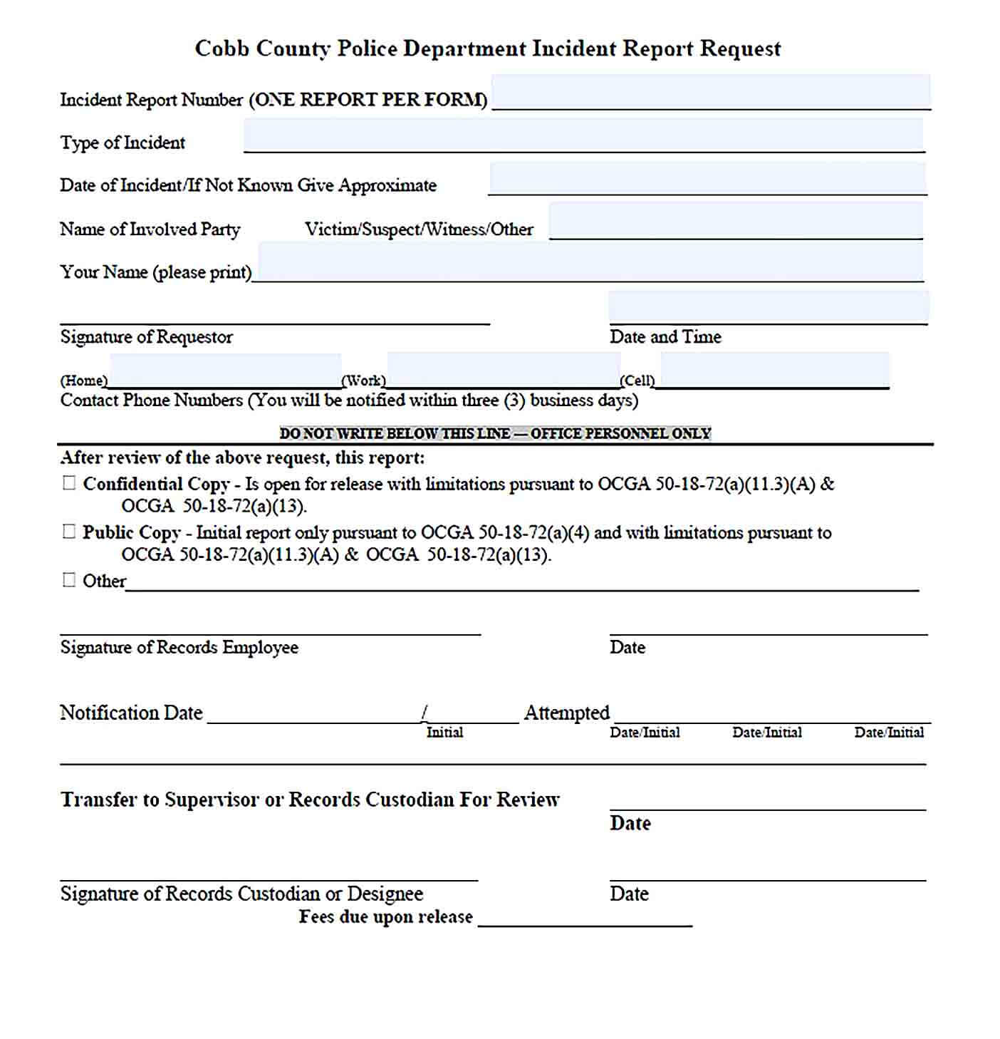 Sample Blank Police Incident Report Template