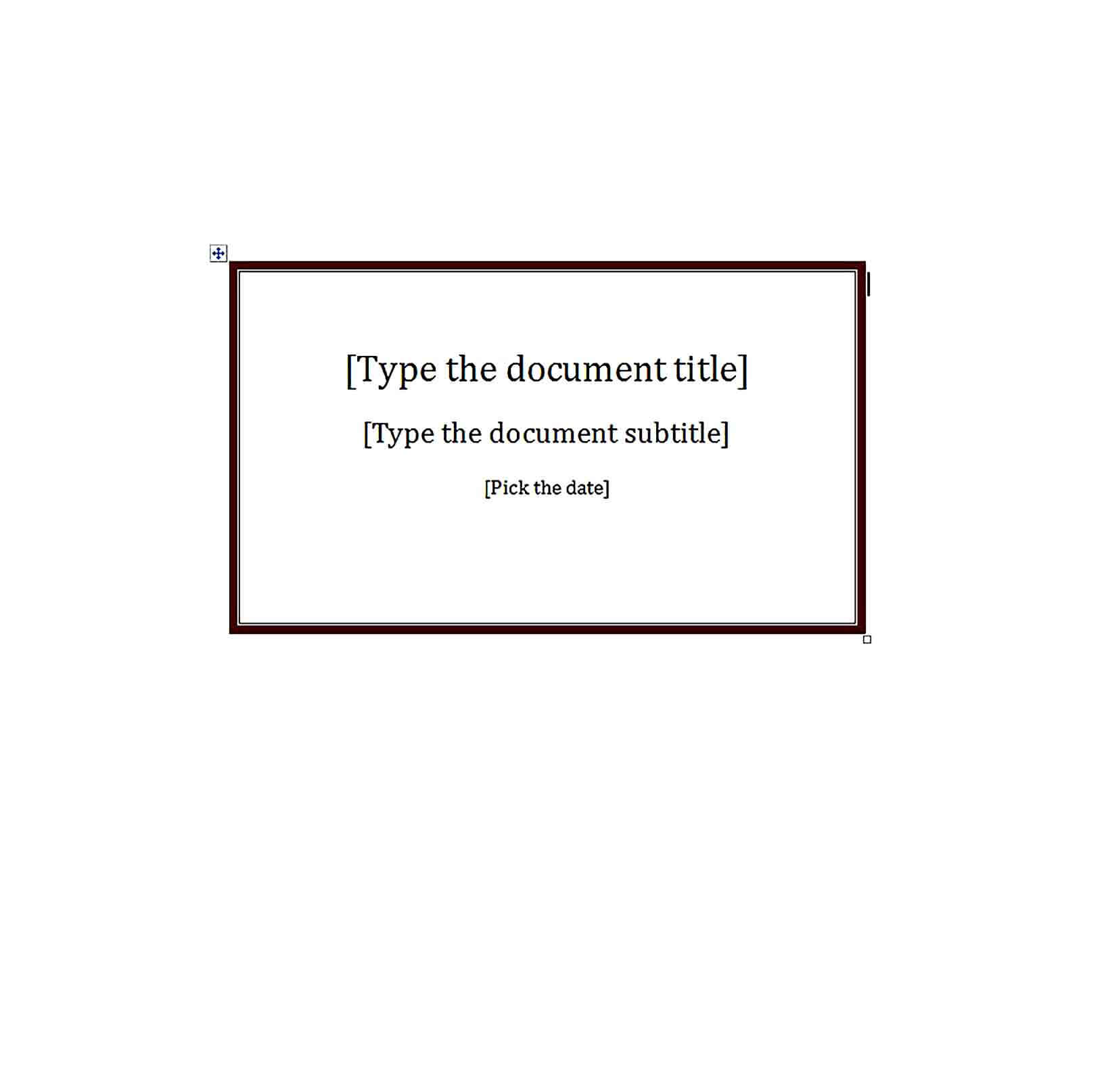 Sample Blank Report Cover Template