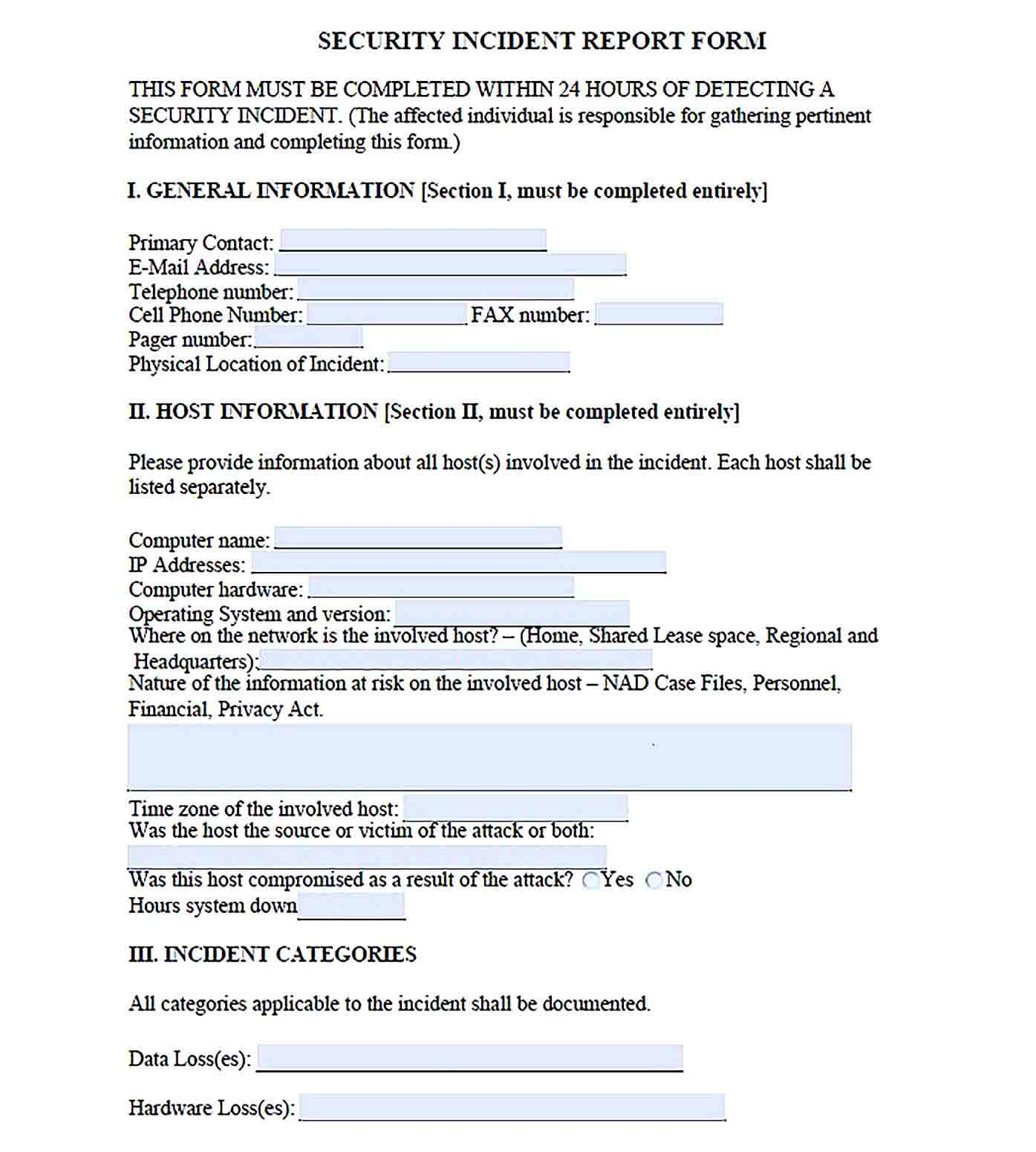 Sample Blank Security Incident Report Form