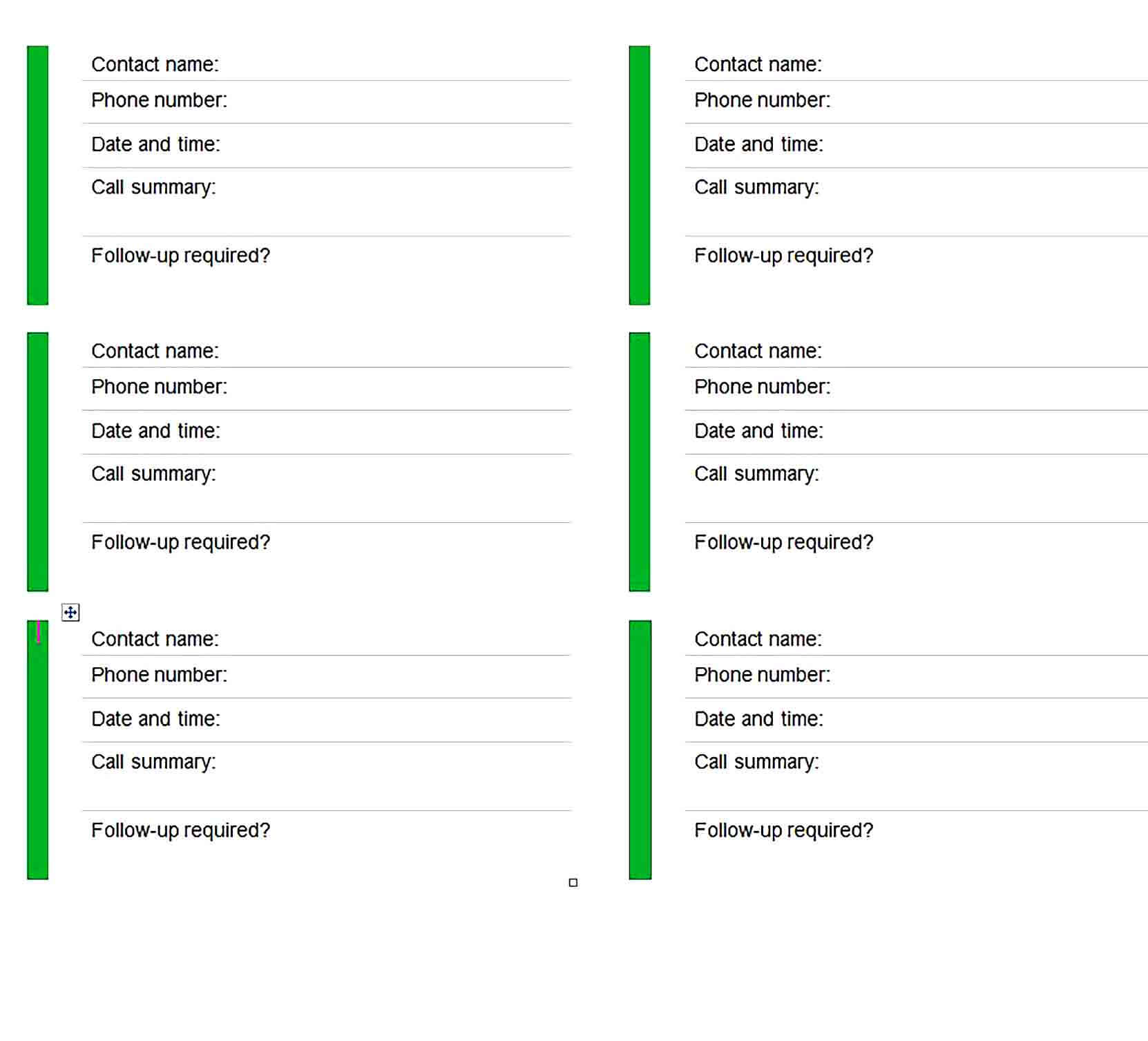 Sample Client Call Log Template