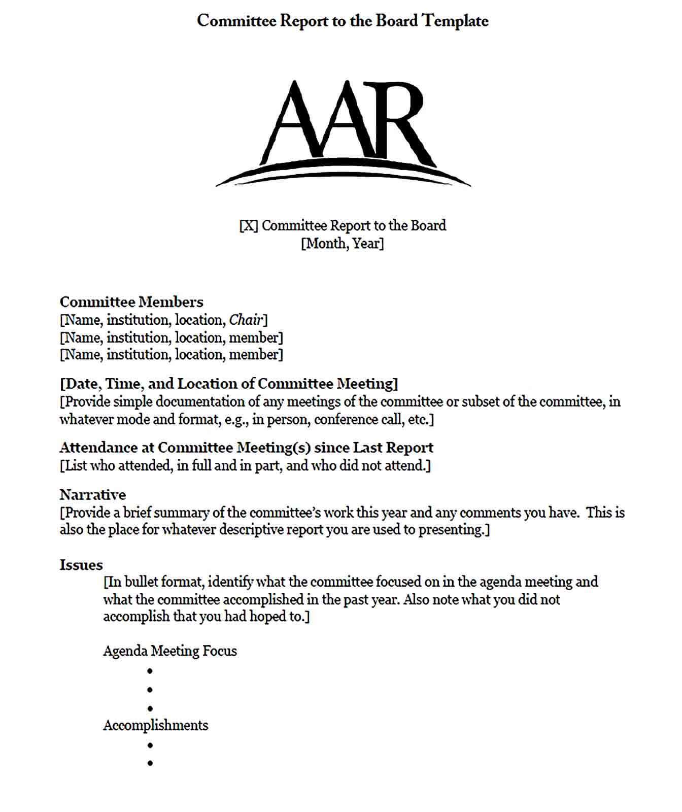 Sample Committee Report to the Board Template