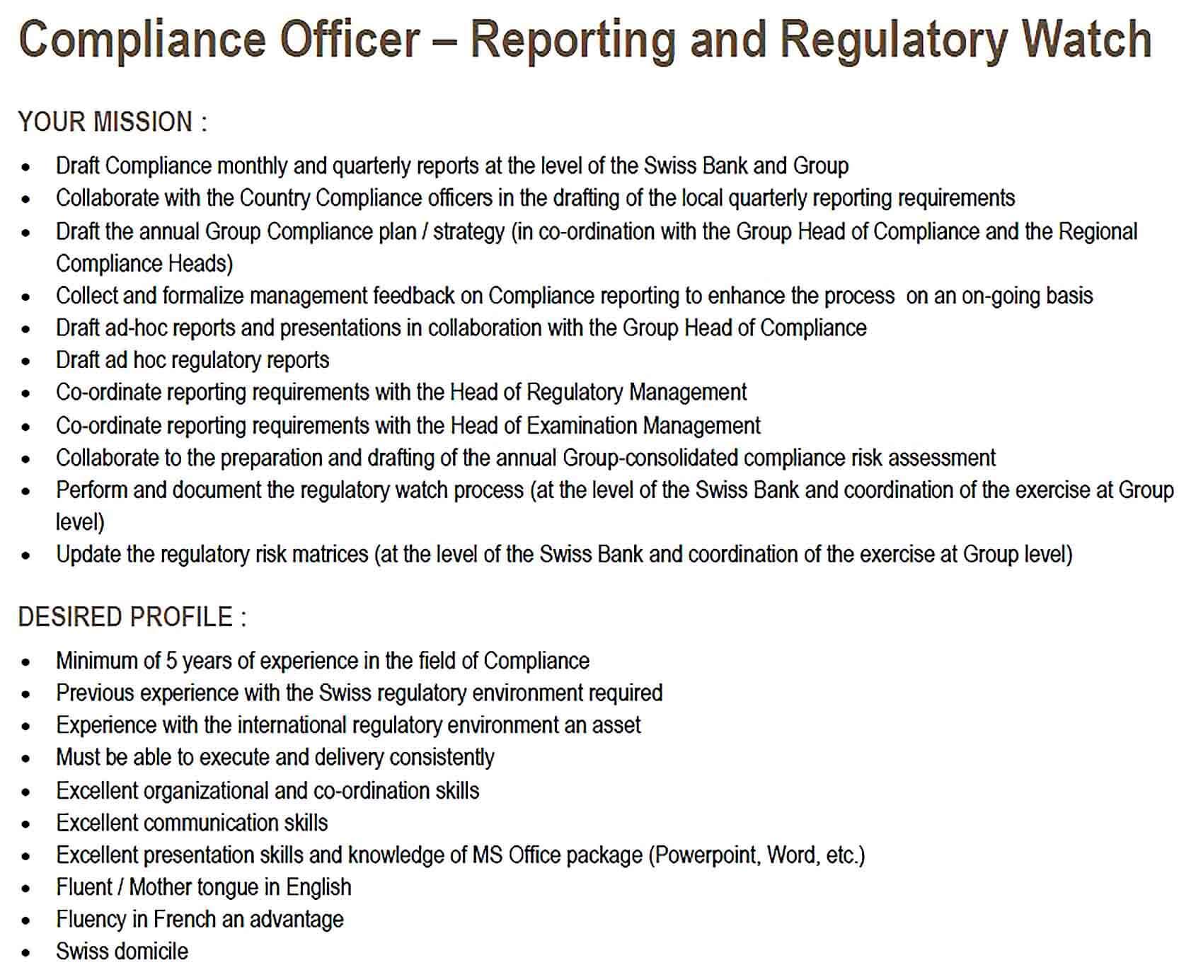 Sample Compliance Officer Report Template